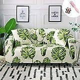Funda Sofá de 3 plazas Universal Estiramiento, Morbuy Nórdico Cubierta de Sofá Cubre Sofá Funda Furniture Protector Antideslizante Elastic Soft Sofa Couch Cover (3 plazas,Hoja Verde)
