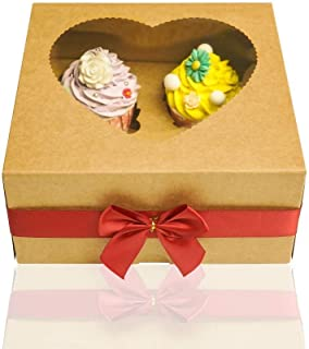 20PCS Brown Kraft 4 Cupcake Boxes With Window Heart-shaped Pastry Cake Bakery Boxes With Insert