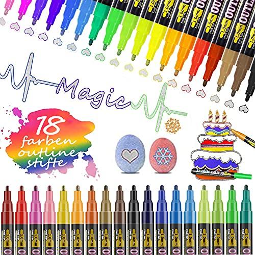 GEEDIAR Glitzerstifte Outline Stifte 18 Farben Zauberstifte Kinder Graffiti Stifte Glossy Magic Pens Wasserfest Glitzer Marker Stifte für Malen, Steine, Geschenkkarte, DIY Fotoalbum, Scrapbook