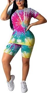 QUEEN PLUS Women's 2 Piece Outfits Short Sleeve T-Shirts Bodycon Pants Shorts Set Tracksuit