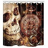 nymb den Spuk-Totenkopf mit eine Mechanische Uhr 175,3x 177,8cm Schimmelresistent Polyester Stoff Duschvorhang Set Fantastische Dekorationen Bad Vorhang