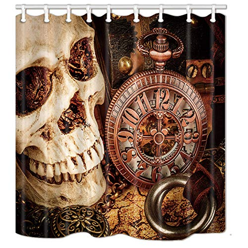 NYMB Duschvorhang mit gruseligem Totenkopf und mechanischer Uhr, 174 x 178 cm, schimmelresistentes Polyestergewebe, fantastisches Dekorationen, Badvorhang-Set