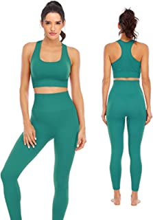 Workout Sets for Women 2 Piece High Waisted Seamless Leggings with Padded Sports Bra Sets Yoga Outfit Jogging Gym Clothes