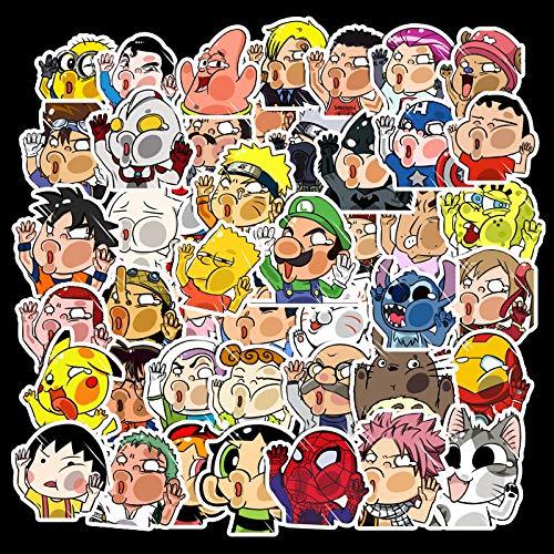 KATTERS 50 Piezas de Pegatinas Divertidas para Personajes de Dibujos Animados de Cristal Estrellado, Pegatinas de Coche, Estuche para Carrito de Equipaje, Pegatinas Bonitas para Cuaderno