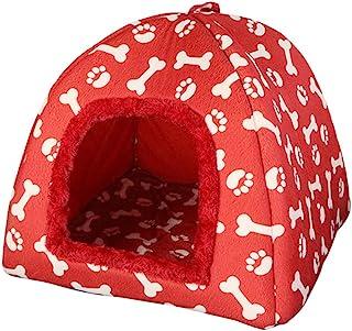 JEELINBORE Imprimé Animaux Igloo pour Chien Chat Doux Lit Coussin Maison Niche Chiot Panier (Rouge, 33 * 33 * 38cm)
