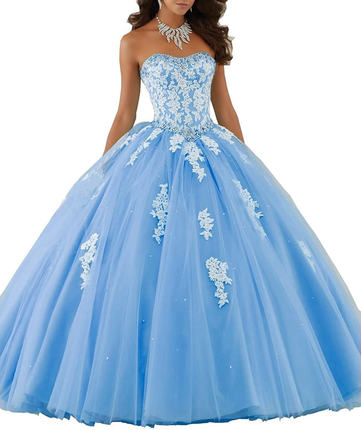 Zhu Li Ya Women's Applique Tulle Beading Lace Quinceanera Dresses Prom Gown