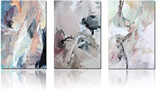Meigan Art Canvas Wall Art Abstract Painting Prints Wall Decor Contemporary Painting Modern Artwork Pictures Framed Ready to Hang (12X16InchX3)