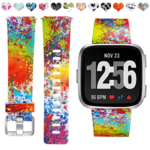 Maledan Compatible with Fitbit Versa 2 Bands for Women, Fadeless Pattern Band Printed Floral Strap Replacement for Fitbit Versa/Versa 2/Versa Lite SE Smart Watch, Small, Splash-Ink