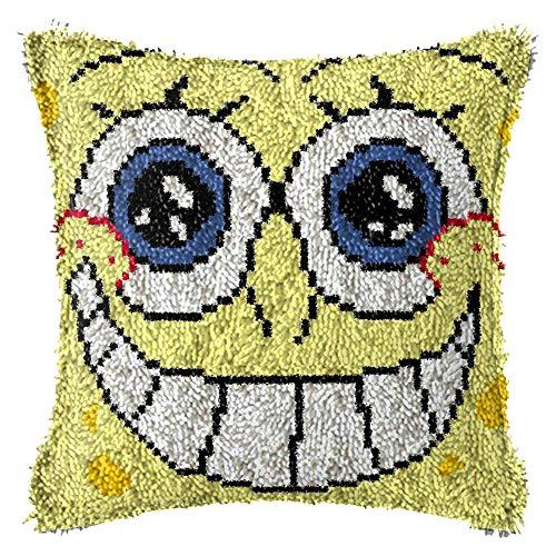 DIY lana bordado almohada hecha a mano Sonrir esponja almohada para sofá cama coche (incluye kit de herramientas)