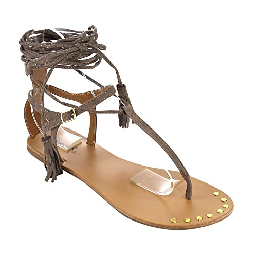 7c25223f5d91 QUPID FC16 Women s Tassels Leg Wrap Gladiator Thong Flat Sandals One Size  Small