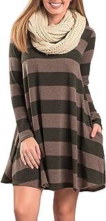 Vestito a Righe Donna Swing Abito in Maglia Manica Lunga Elegante Camicetta T Shirt Scollo Rotondo Casuale Moda Allentato ...