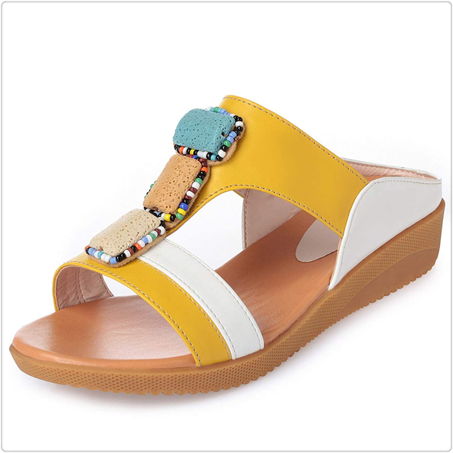 BIONGTY& 2019 New Summer Female Sandals and Slippers Mixed colors Beaded Wild Fashion Sandals Women shoes Casual Sandals Flat Plus Size Yellow 9