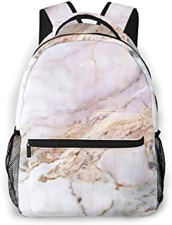 Pink Marble White Daypack With Side Pockets, Travel And Sport Backpack Rucksack Large Capacity College School Bookbag Anti-Theft Multipurpose for Girls Boys