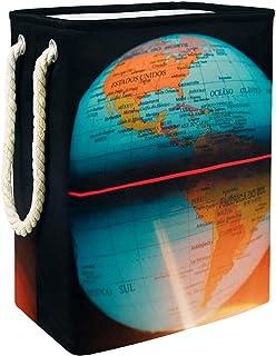Vockgeng Globe terrestre Sac de Rangement Panier de Rangement imperméable Pliable de Jouets de Jouets de Panier avec des p...