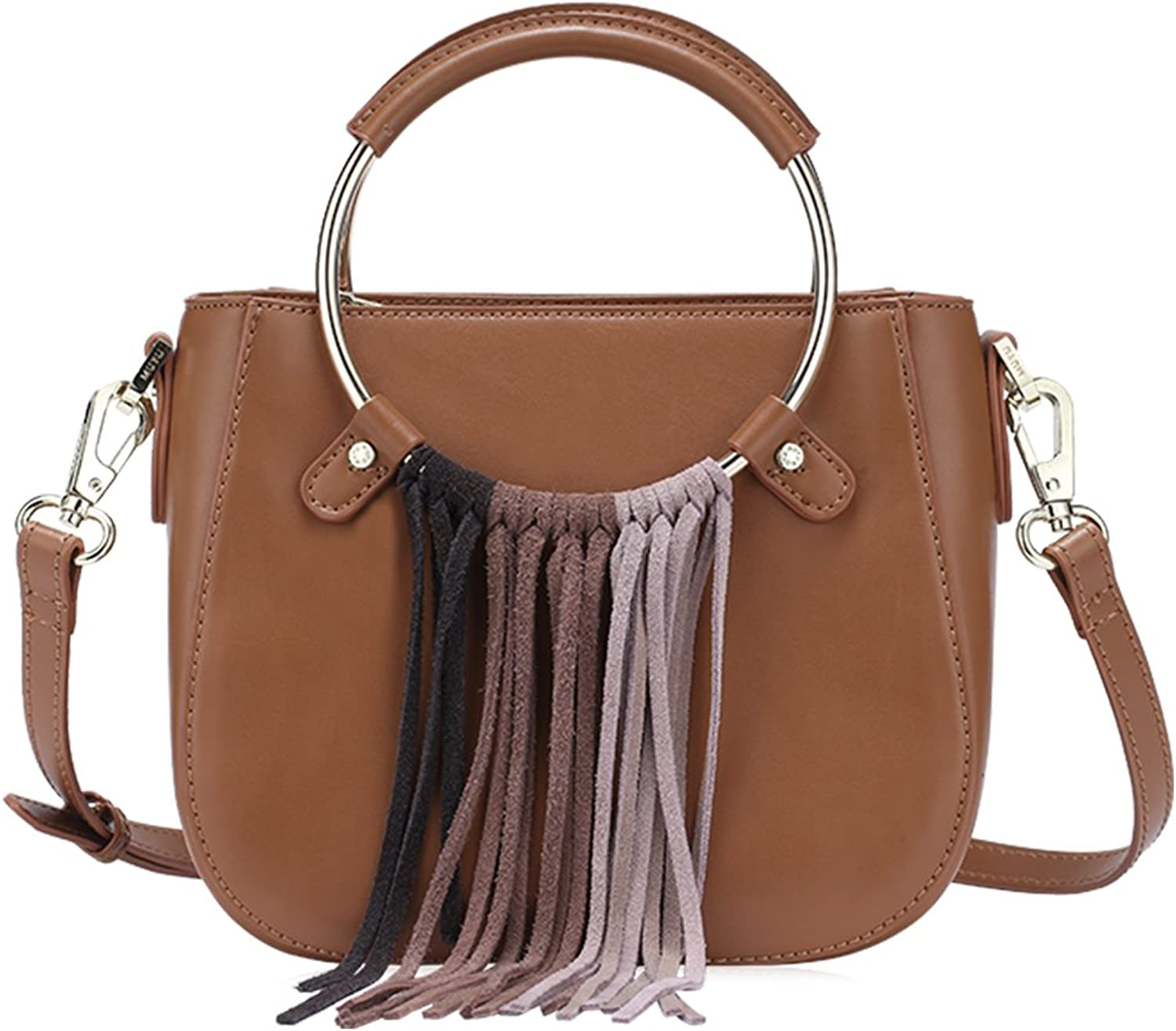 Muyu 2018 Hard PU Vintage Tassels Women Shoulder Bags Saddle