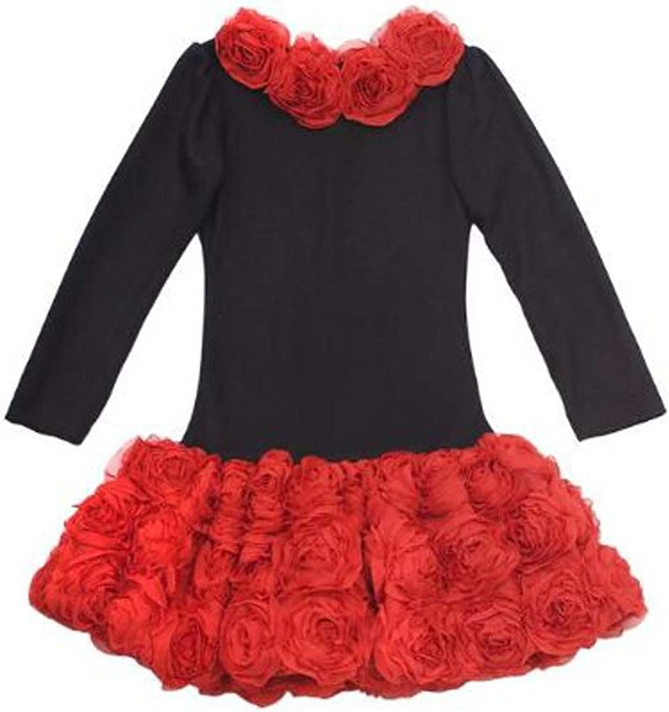 Rare Editions Girls Special Occasion Dress - Rows of Red Roses 12