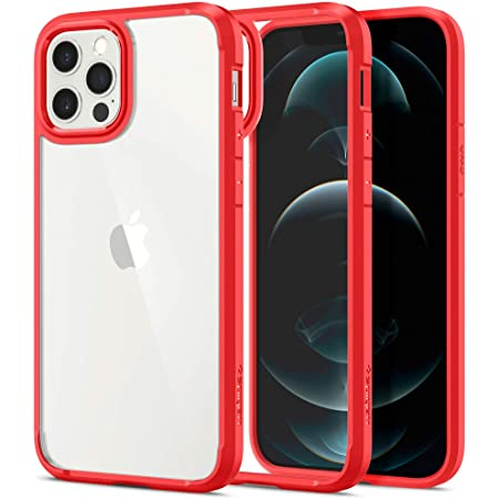 Spigen iPhone12 用 ケース iPhone12Pro 用 ケース 6.1インチ MagSafe 対応 背面クリア 米軍MIL規格取得 耐衝撃 すり傷防止 ワイヤレス充電対応 アイフォン12 ケース アイフォン12プロケース カバー シュピゲン ウルトラ・ハイブリッド ACS01704 (レッド)