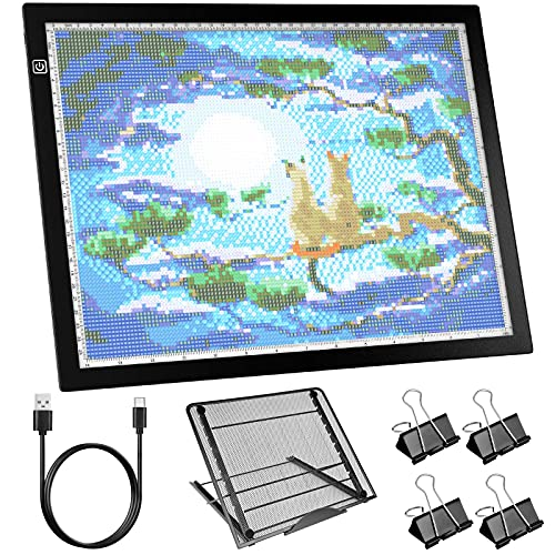 LED Light Pad Large A3s Light Board for Diamond Painting Durable Aluminium Frame Touch Dimmer Light Pad with Stand 4 Fasten Clips for Tracing, Drawing, Weeding Vinyl
