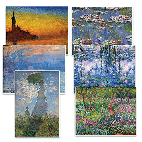 Creanoso Claude Monet Famous Paintings Postcards (60-Packs) - Twilight, Woman with Parasol, Sunrise, Irises, Water lilies, Nympheas - Note Cards Stocking Stuffers Gifts for Men and Women
