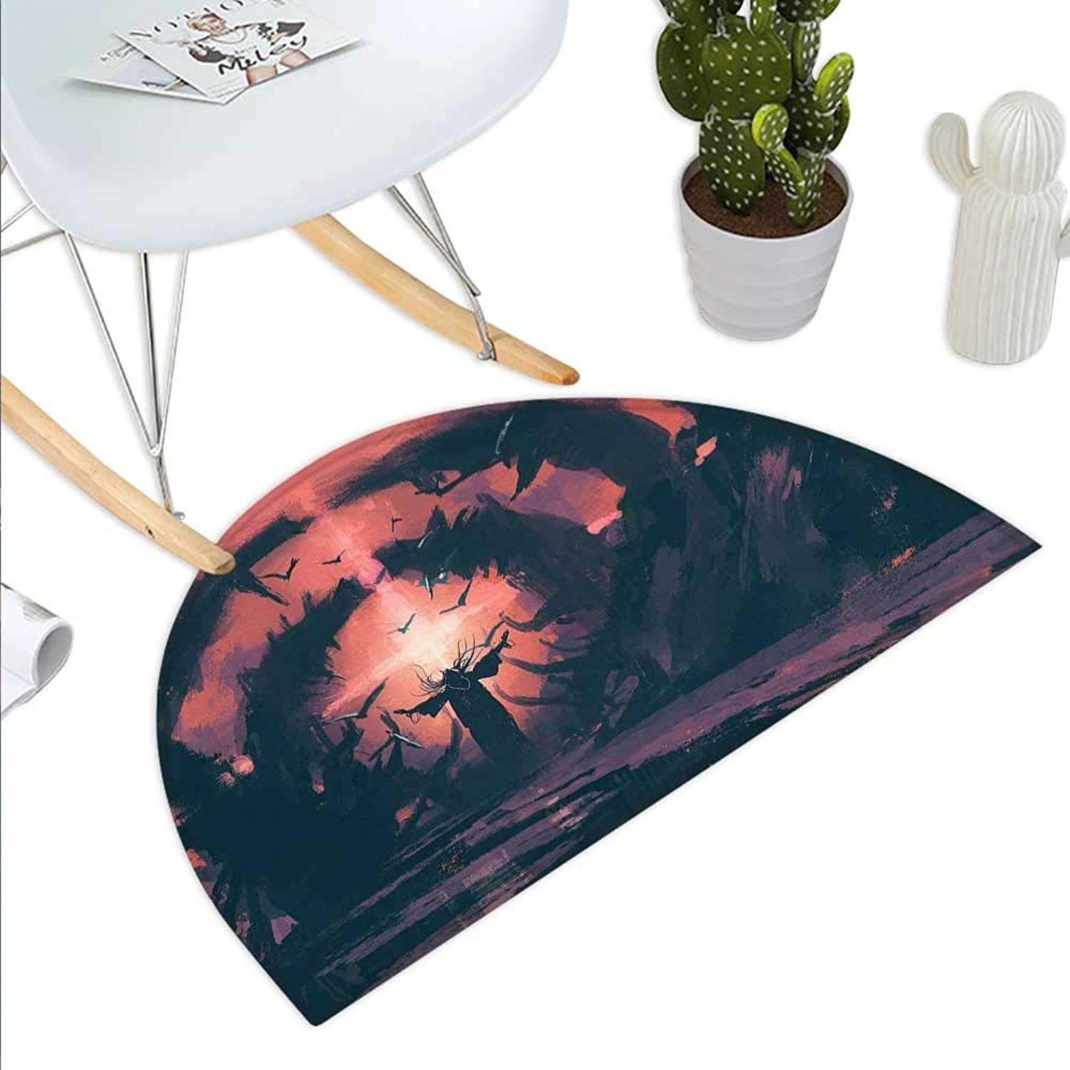 Fantasy Semicircle Doormat an Old Wizard Casting a Spell in The Wizarding Lair Painting Style Design Halfmoon doormats H 39.3  xD 59  Salmon Fuchsia Black