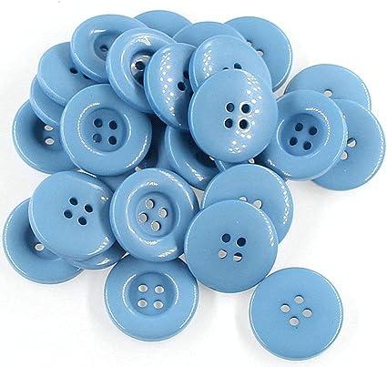 1 pulgada (25 mm) Botones grandes de artesanía de plástico de color azul para coser, para tejer, paquete de 50 piezas Leekayer