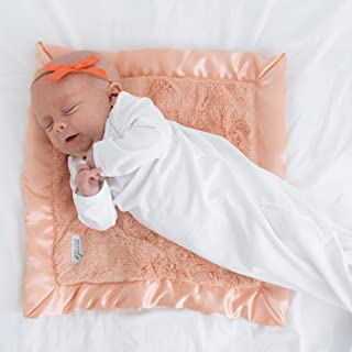 Super Soft Plush Satin Border Baby Mini Lovey Blankets, Peach