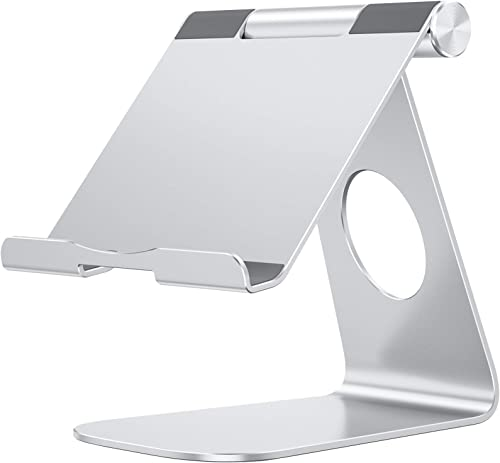 OMOTON Adjustable Tablet Stand Compatible with iPad, Tablets (Up to 12.9 inch) and All Cell Phones, Silver