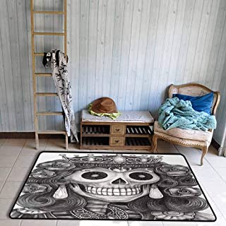 Queen Living Room Rugs Day of The Dead Artwork Hand Drawing Folk Skull with Flowers Crown Ornaments Dining Room Home Bedroom W55 x L63 Black and White