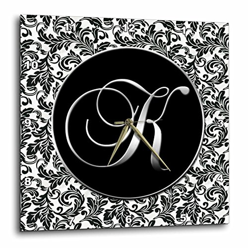 3dRose DPP_38760_1 Letter K Black and White Damask Wall Clock, 10 by 10-Inch