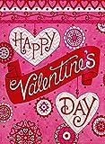 Furiaz Happy Valentine's Day Gartenflagge Liebe Deko Haus Hof, Outdoor Flagge Kaleidoskop Herzen Jute Frühlingsdekoration Urlaub Home Decor Fahne 12 x 18