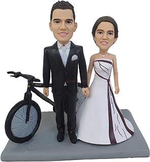 montar bicicleta toppers de la torta aniversario de bodas favor presente cake topper regalos de san valentín