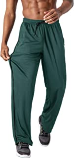 Mens Mesh Pants Elastic Waist Drawstring Open Bottom Sweatpants