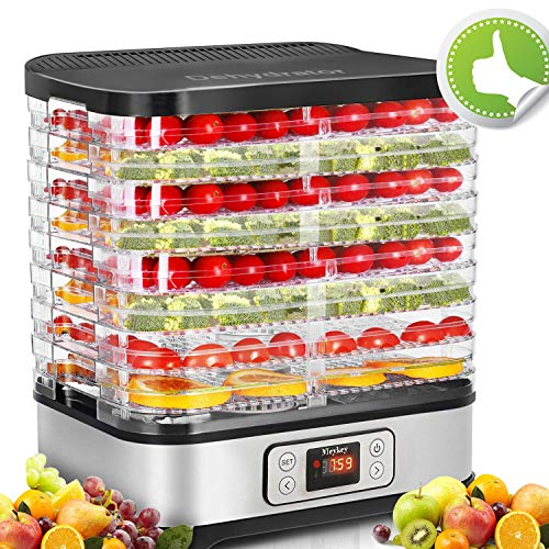 Food Dehydrator Machine, Fruit Dehydrators with 8-Tray, Digital Timer and Temperature Control(95ºF-158ºF),400 Watt, BPA Free
