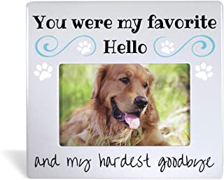 BANBERRY DESIGNS Pet Remembrance Gifts - Pet Memorial Picture Frame - Bereavement Photo Frame for Dog or Cat - You were My Favorite Hello and My Hardest Goodbye