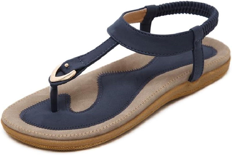 Women Flat Sandals Summer Beach T-Strap Bohemian Flip Flop shoes Ankle Strap Thong shoes