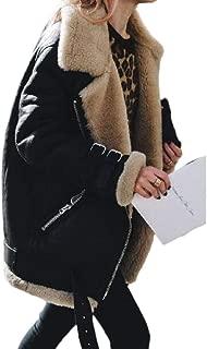 Women Winter Faux Suede Lapel Coat Outwear Warm Biker Motor Aviator Jacket