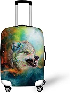 HUGS IDEA Wolf Printed Luggage Cover Protective 3D Animal Suitcase Protector Covers with Zipper for Travel 18-22 Inch