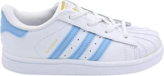 adidas Original BW1279 : White Light Blue Superstar Toddler Sneaker (8 M US Toddler, White Light Blue Gold Metallic)