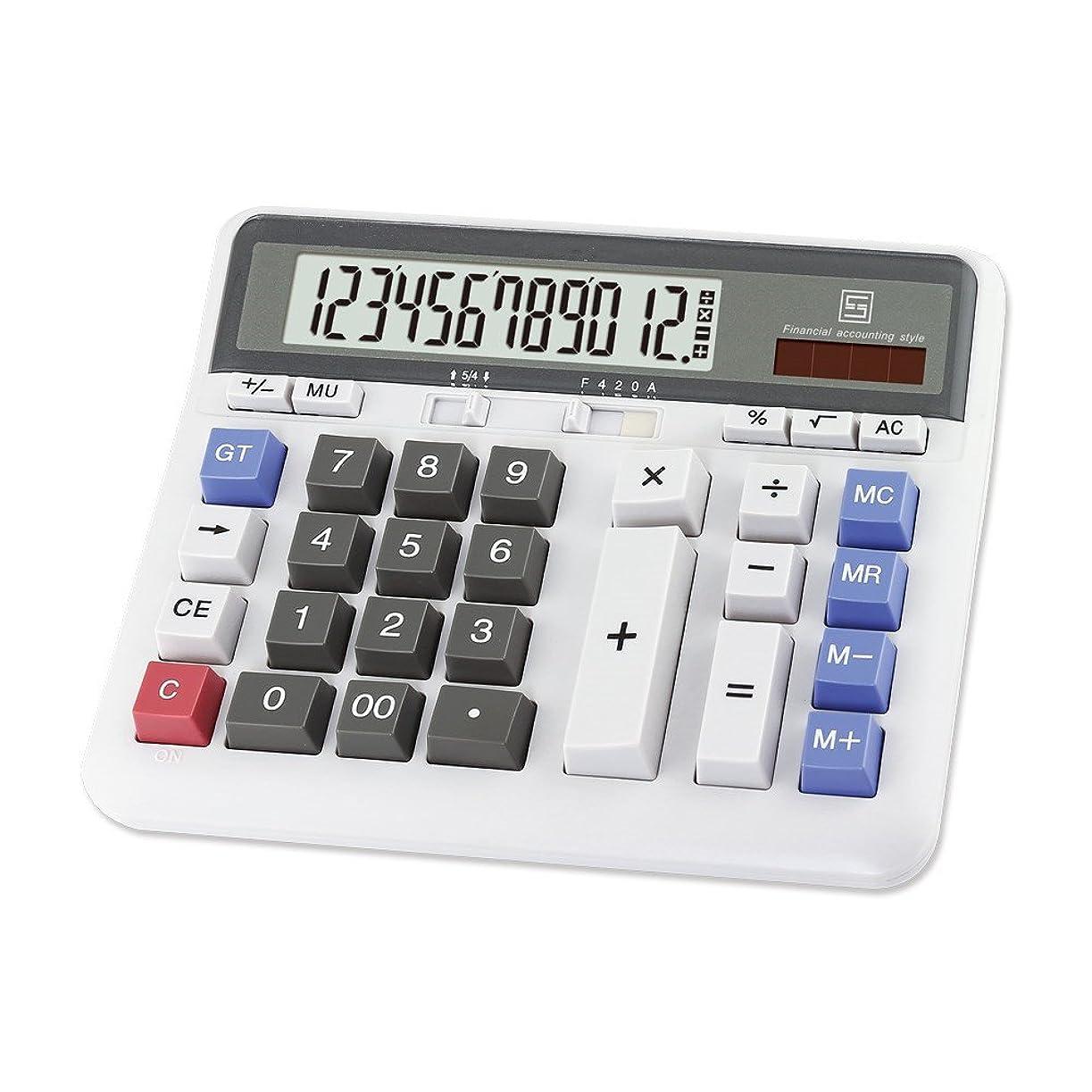 弾薬成果ワイドソーラー電卓Lianshi Bankファイナンスデスクトップソーラーデュアルパワー12ビットディスプレイ重複召喚電卓