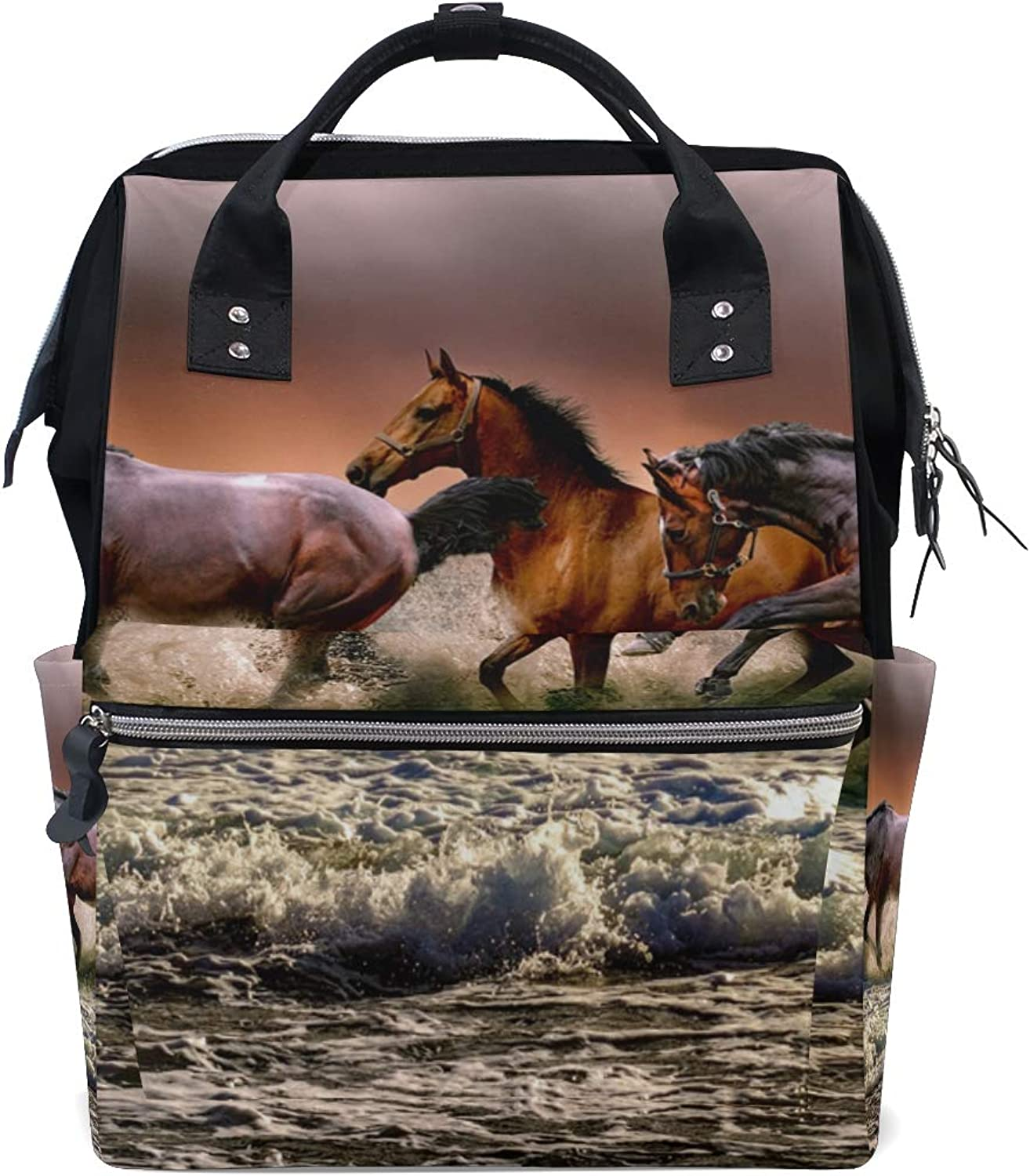 0e79606cf69e Animal Canvas Travel Bag Campus Backpack Horse MONTOJ nuvnfu3621 ...