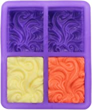 COOKNBAKE Silicone Mold for Handmade Soap Mold Pudding Bread Pastry Jelly Dessert Baking Bakeware 4 Holes Square Wave Shap...