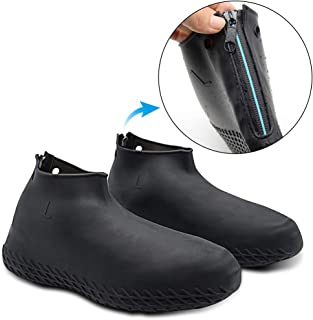 Silicone Shoe Cover Waterproof, Reusable Boot Shoes Covers with Zipper,Non Slip Rain Snow Bowling Travel Indoor Outdoor Overshoe Rubber Protectors for Men Women Kids