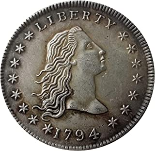 Rare Antique United States 1794 Flowing Hair Liberty Silver Color Dollar