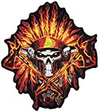 [Large Size] Papapatch Fire Flame Feathered Indian Chief Head Death Skull Biker Motorcycle Jacket Vest Embroidered Sew on Iron on Patch (IRON-FIRE-INDIAN-04-LARGE)