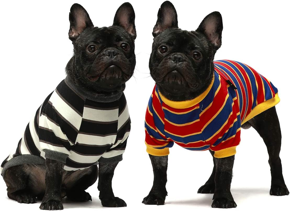 Fitwarm Dedication 2-Pack 100% Cotton Striped Dog for Shirts unisex Clothes Pu