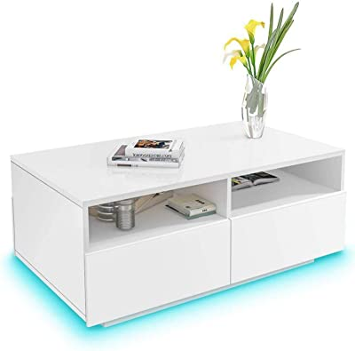 Rectangle Coffee Table, High Gloss End Table Sofa Side Table Tea Table Cocktail Table with 4 Large Drawers and Storage Shelves Modern Look Accent Furniture for Living Room Home Office White