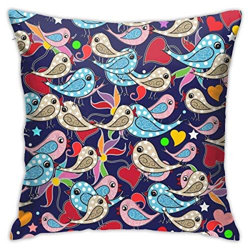 Hangdachang Throw Pillow Case 45cm x 45cm Birds Love Hearts Pillowcase,Square Throw Covers,Decorative Cushion for Sofa Couch Car