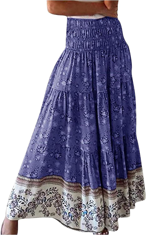 BZSHBS Long Skirt for Women Phoenix Mall Floral Vintage Boho Maxi Gorgeous Print
