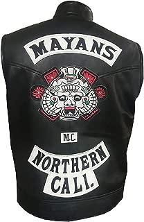 Aus Eshop Mens JD Pardo Mayans MC Northern Cali Ezekiel Reyes Black Biker Leather Vest