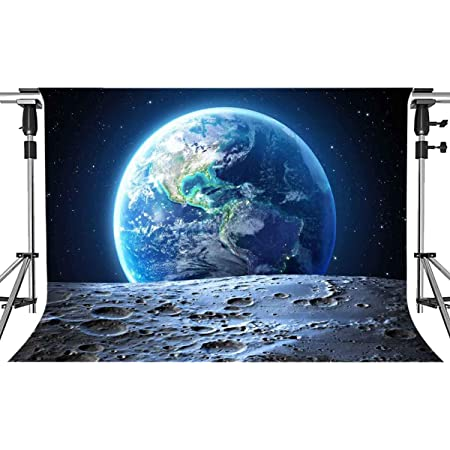 OFILA Universe Backdrop 10x10ft Earth Surface Planet Stars Footprints Outer Space Background Astronaut Party Event Decoration School Activity Children Birthday Theme Kids Toddlers Shoots Video Props